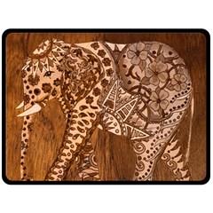 Elephant Aztec Wood Tekture Double Sided Fleece Blanket (Large)