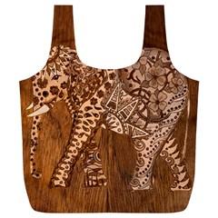Elephant Aztec Wood Tekture Full Print Recycle Bags (l)