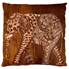 Elephant Aztec Wood Tekture Standard Flano Cushion Case (One Side)