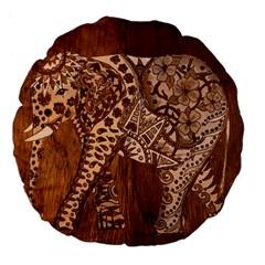 Elephant Aztec Wood Tekture Large 18  Premium Flano Round Cushions