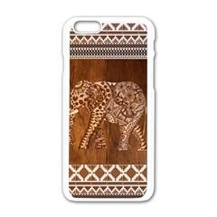 Elephant Aztec Wood Tekture Apple iPhone 6/6S White Enamel Case