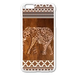 Elephant Aztec Wood Tekture Apple iPhone 6 Plus/6S Plus Enamel White Case