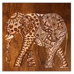 Elephant Aztec Wood Tekture Large Satin Scarf (square)