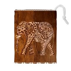 Elephant Aztec Wood Tekture Drawstring Pouches (Extra Large)
