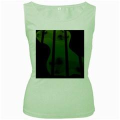 Fractal Prison Women s Green Tank Top