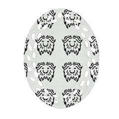 Animal Bison Grey Wild Oval Filigree Ornament (two Sides)
