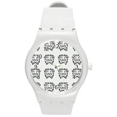 Animal Bison Grey Wild Round Plastic Sport Watch (M)