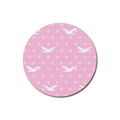 Wallpaper Same Palette Pink Star Bird Animals Rubber Round Coaster (4 Pack)