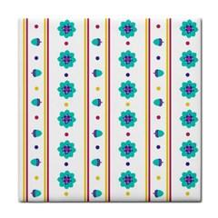 Beans Flower Floral Blue Tile Coasters