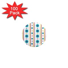 Beans Flower Floral Blue 1  Mini Magnets (100 pack)