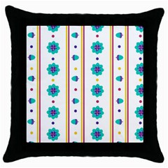Beans Flower Floral Blue Throw Pillow Case (black)