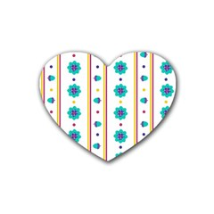 Beans Flower Floral Blue Rubber Coaster (Heart)