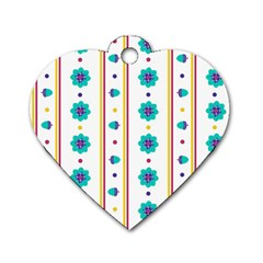 Beans Flower Floral Blue Dog Tag Heart (One Side)