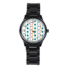 Beans Flower Floral Blue Stainless Steel Round Watch