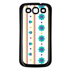 Beans Flower Floral Blue Samsung Galaxy S3 Back Case (Black)