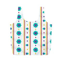 Beans Flower Floral Blue Full Print Recycle Bags (M)