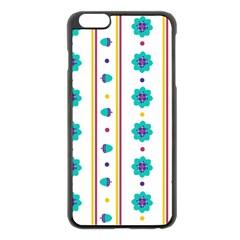 Beans Flower Floral Blue Apple iPhone 6 Plus/6S Plus Black Enamel Case