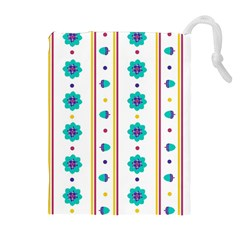 Beans Flower Floral Blue Drawstring Pouches (Extra Large)
