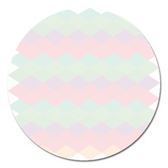Argyle Triangle Plaid Blue Pink Red Blue Orange Magnet 5  (Round)