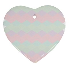 Argyle Triangle Plaid Blue Pink Red Blue Orange Heart Ornament (two Sides)