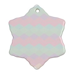 Argyle Triangle Plaid Blue Pink Red Blue Orange Ornament (Snowflake)