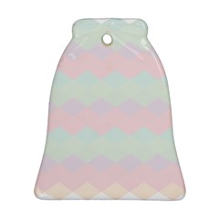 Argyle Triangle Plaid Blue Pink Red Blue Orange Bell Ornament (Two Sides)