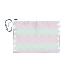 Argyle Triangle Plaid Blue Pink Red Blue Orange Canvas Cosmetic Bag (M)