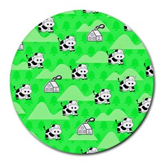 Animals Cow Home Sweet Tree Green Round Mousepads