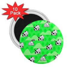 Animals Cow Home Sweet Tree Green 2 25  Magnets (10 Pack)