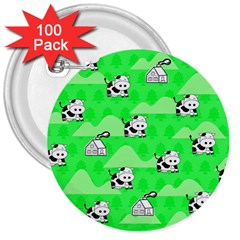 Animals Cow Home Sweet Tree Green 3  Buttons (100 pack)