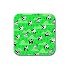 Animals Cow Home Sweet Tree Green Rubber Square Coaster (4 pack)