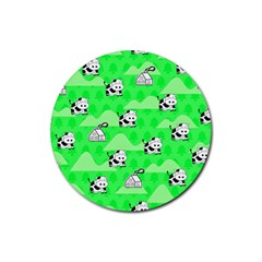 Animals Cow Home Sweet Tree Green Rubber Round Coaster (4 pack)