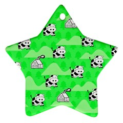 Animals Cow Home Sweet Tree Green Star Ornament (Two Sides)