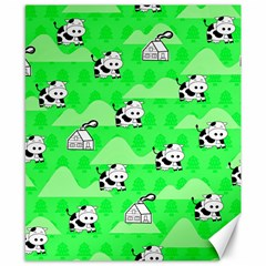 Animals Cow Home Sweet Tree Green Canvas 8  x 10