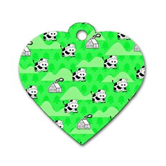 Animals Cow Home Sweet Tree Green Dog Tag Heart (Two Sides)