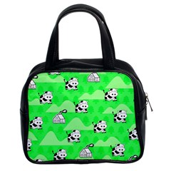 Animals Cow Home Sweet Tree Green Classic Handbags (2 Sides)