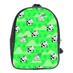 Animals Cow Home Sweet Tree Green School Bags (XL)