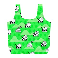 Animals Cow Home Sweet Tree Green Full Print Recycle Bags (L)