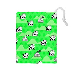 Animals Cow Home Sweet Tree Green Drawstring Pouches (Large)
