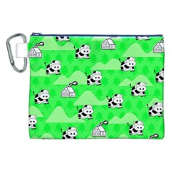 Animals Cow Home Sweet Tree Green Canvas Cosmetic Bag (XXL)