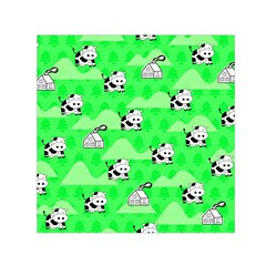 Animals Cow Home Sweet Tree Green Small Satin Scarf (Square)