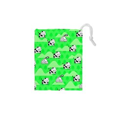 Animals Cow Home Sweet Tree Green Drawstring Pouches (XS)