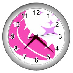 Bird Feathers Star Pink Wall Clocks (silver)