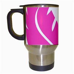 Bird Feathers Star Pink Travel Mugs (White)