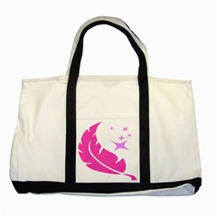 Bird Feathers Star Pink Two Tone Tote Bag