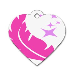Bird Feathers Star Pink Dog Tag Heart (Two Sides)