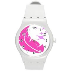 Bird Feathers Star Pink Round Plastic Sport Watch (M)