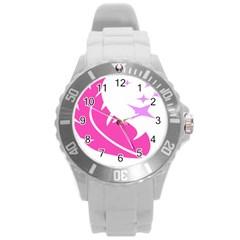 Bird Feathers Star Pink Round Plastic Sport Watch (L)