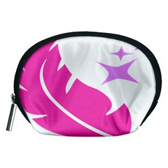 Bird Feathers Star Pink Accessory Pouches (Medium)