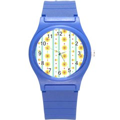 Beans Flower Floral Yellow Round Plastic Sport Watch (S)